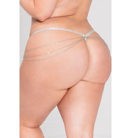 SEVEN 'TIL MIDNIGHT LADY OF CHAIN G-STRING - WHITE - QUEEN SIZE