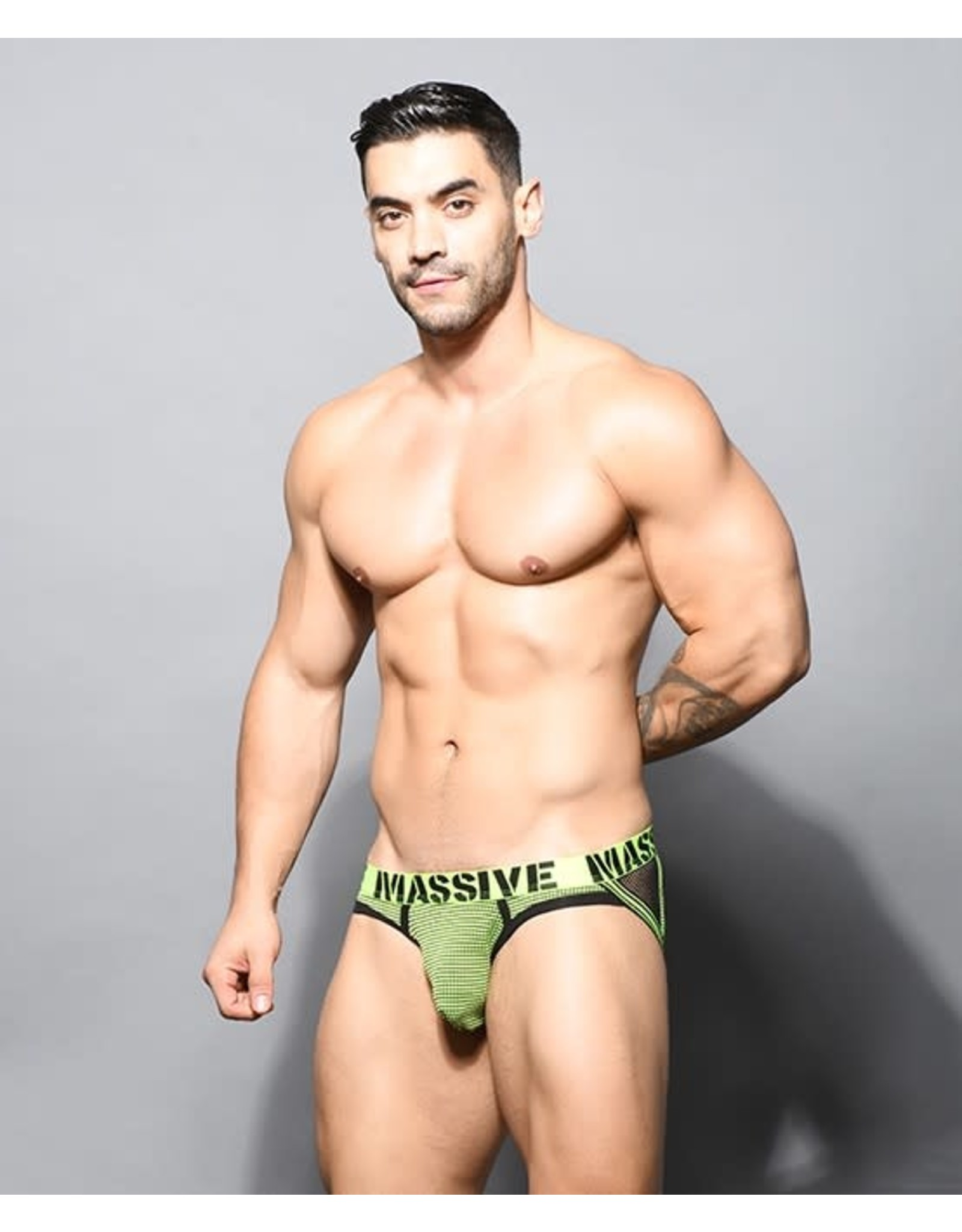 ANDREW CHRISTIAN ANDREW CHRISTIAN - MASSIVE NETWORK NET JOCK - NEON YELLOW/BLACK - LARGE