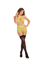 DREAMGIRL LINGERIE DREAMGIRL - 3 PIECE SET - LIME - ONE SIZE