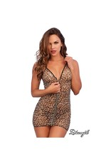 DREAMGIRL - LEOPARD ZIPPER CHEMISE - ONE SIZE
