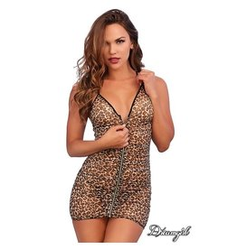 DREAMGIRL LINGERIE DREAMGIRL - LEOPARD ZIPPER CHEMISE - ONE SIZE