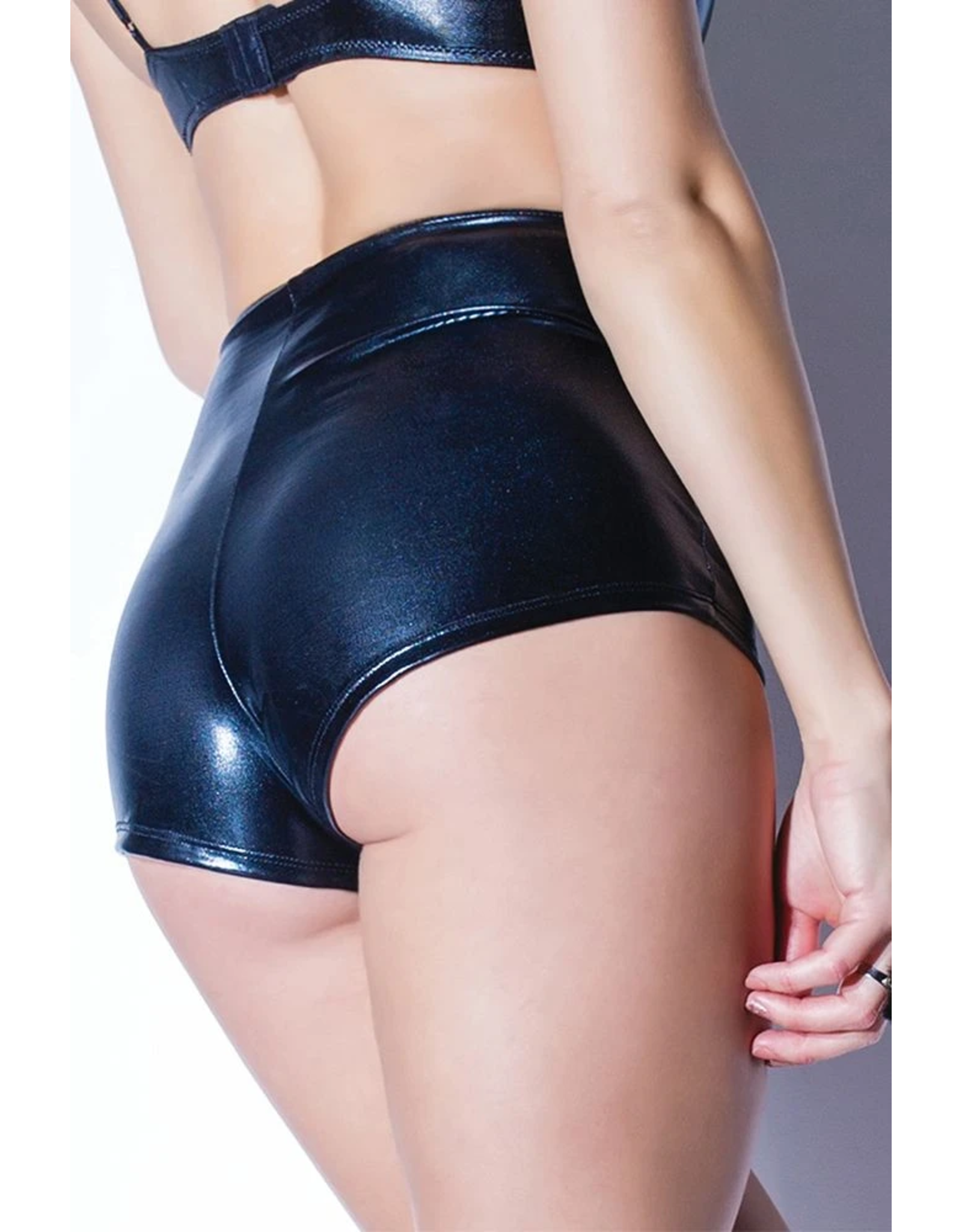 DARQUE BY COQUETTE - UNDER PRESSURE WET LOOK BOOTY SHORT - ONE SIZE