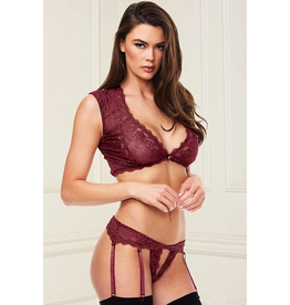 BACI - 2PC SEXY  LACE BRA SET - SMALL/MEDIUM - WINE