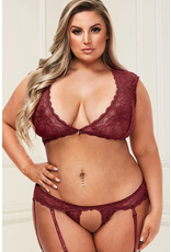 BACI - 2PC SEXY LACE BRA SET - QUEEN SIZE - WINE