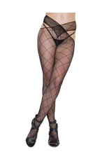 COQUETTE - DIAMOND FISHNET WAIST-CROSS  STOCKINGS - ONE SIZE