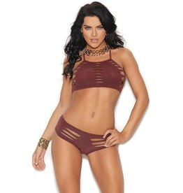 ELEGANT MOMENTS ELEGANT MOMENTS - RUST LIES AHEAD SHREDDED BRALETTE & PANTY - ONE SIZE