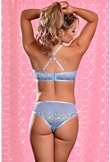 EXPOSED - URBAN JUNGLE BRALETTE & CROTCHLESS PANTY - SMALL/PEDIUM - PERIWINKLE