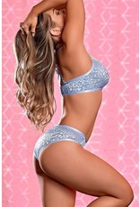 EXPOSED - URBAN JUNGLE BRALETTE & CROTCHLESS PANTY - LARGE/X-LARGE - PERIWINKLE