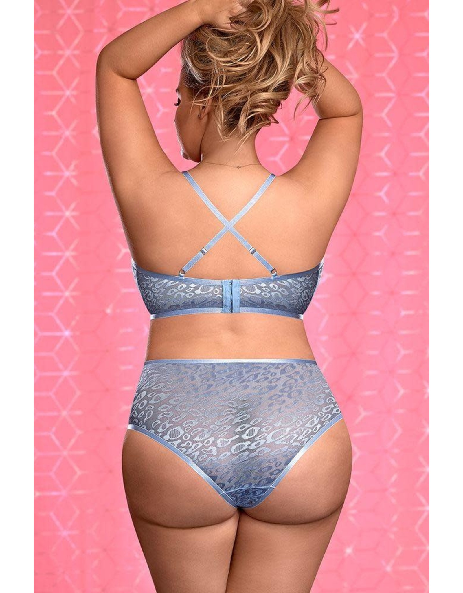 EXPOSED - URBAN JUNGLE BRALETTE & CROTCHLESS PANTY - QUEEN SIZE - PERIWINKLE