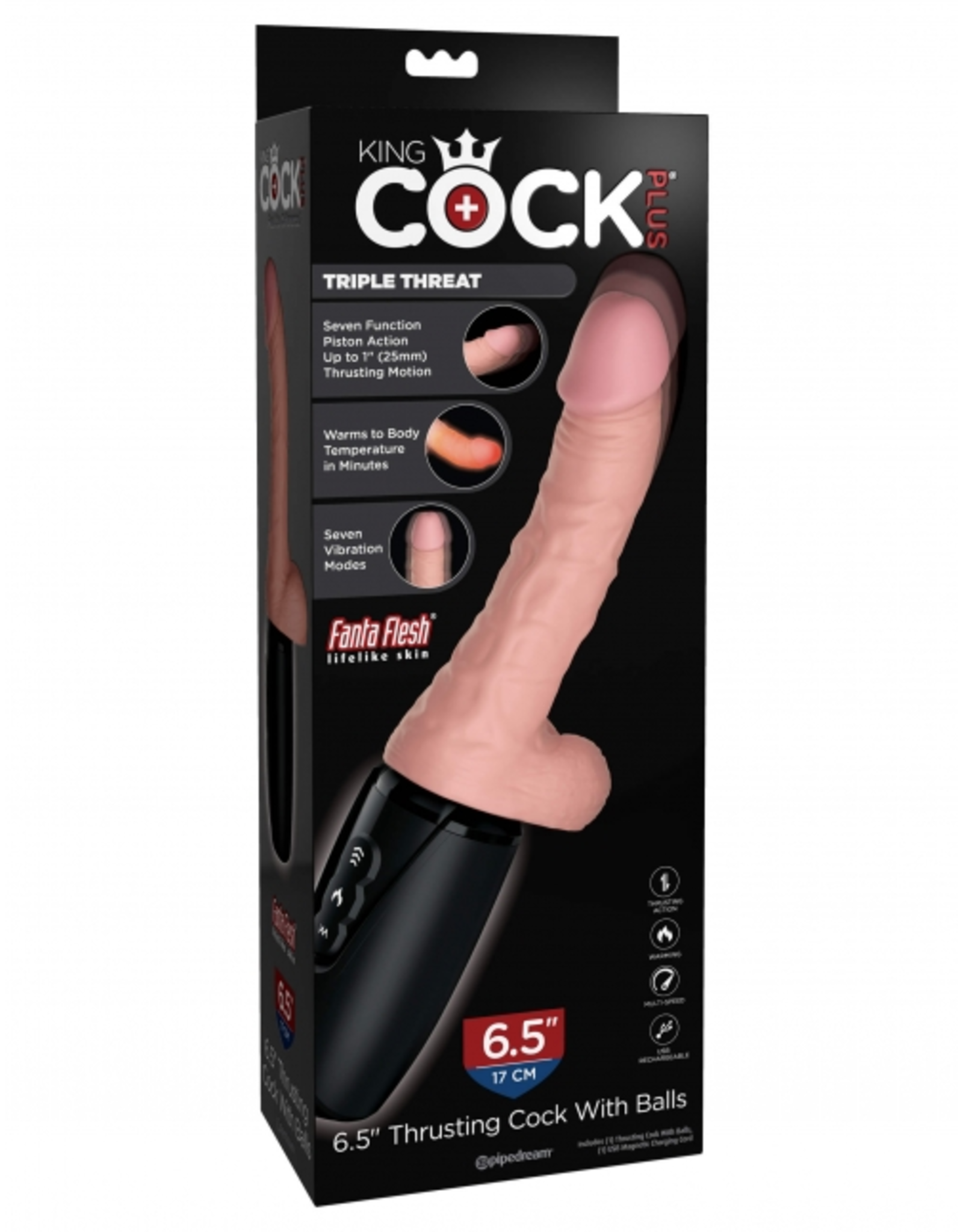 "KING COCK KING COCK PLUS - 6.5"" THRUSTING COCK WITH BALLS - VANILLA"