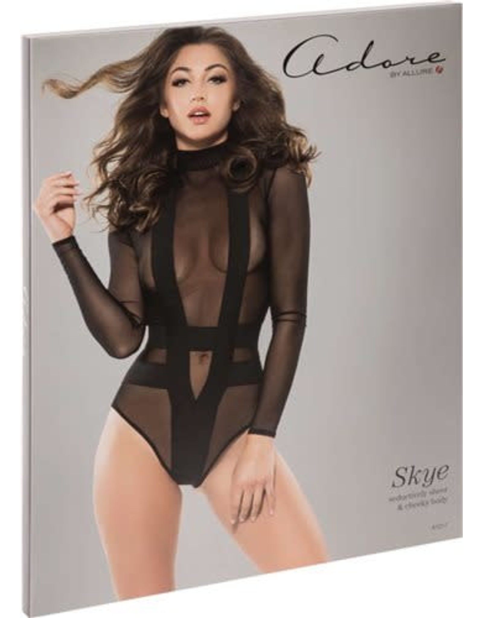 ALLURE LINGERIE ALLURE - ADORE - SKYE SHEER AND CHEEKY BODYSUIT - SMALL