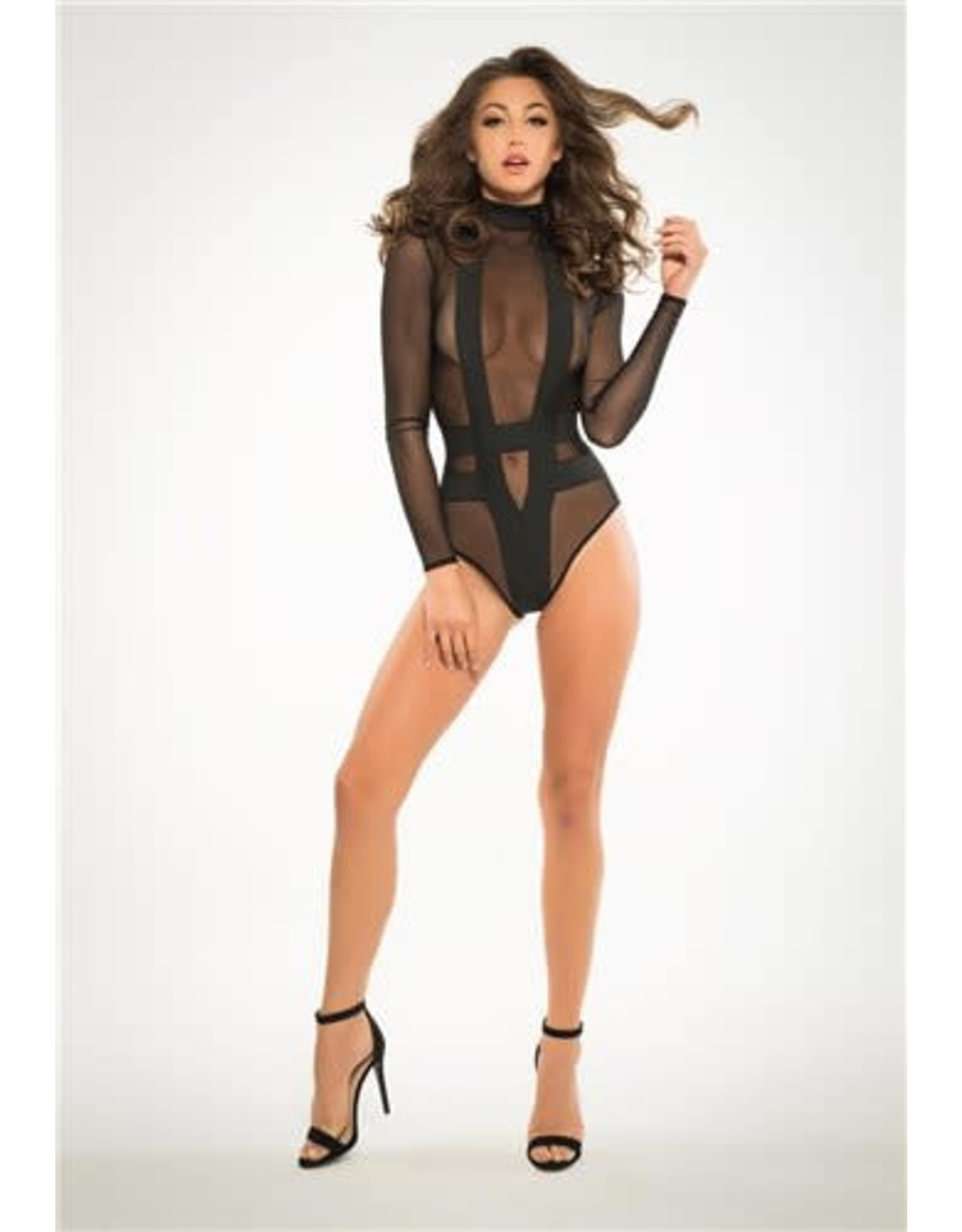 ALLURE LINGERIE ALLURE - ADORE - SKYE SHEER AND CHEEKY BODYSUIT - LARGE