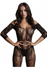 LE DESIR LE DESIR - LACE SLEEVED BODYSTOCKING - BLACK - ONE SIZE
