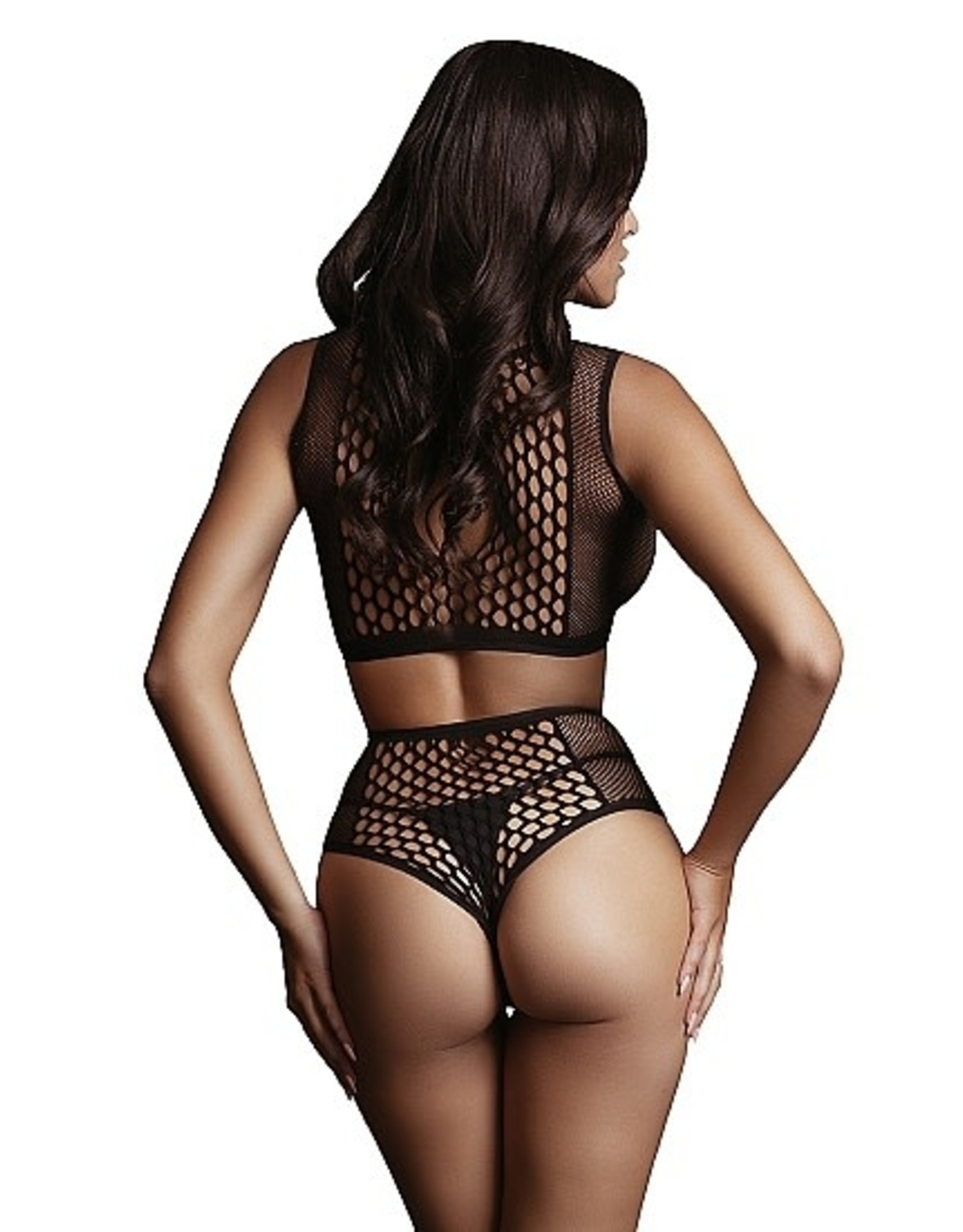 LE DESIR LE DESIR - DUO NET KEY-HOLE BRA SET - BLACK - ONE SIZE