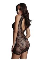 LE DESIR LE DESIR - HIGH NECK LACE MINI DRESS - BLACK - ONE SIZE