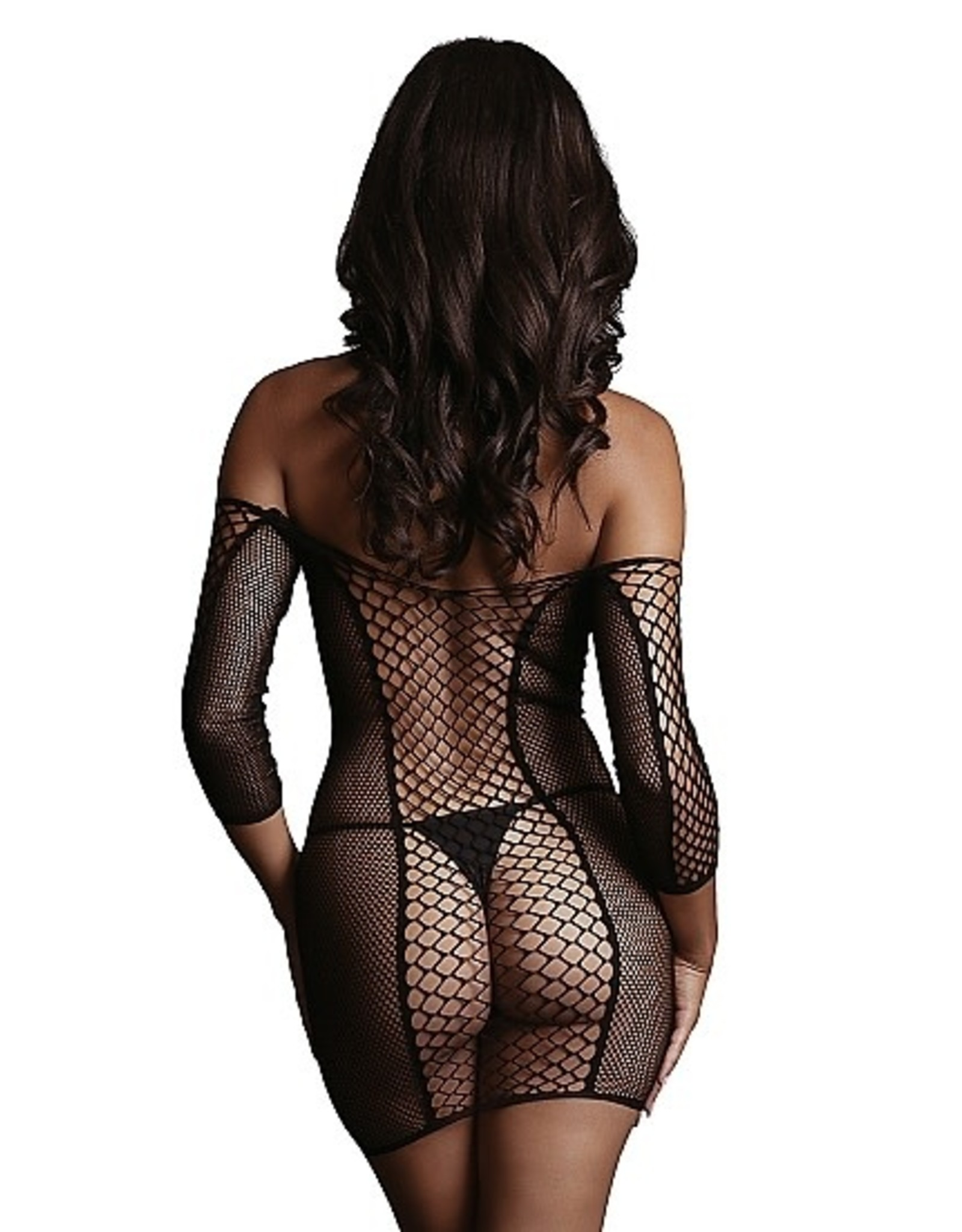 LE DESIR LE DESIR - DUO NET SLEEVED MINI DRESS - BLACK - ONE SIZE