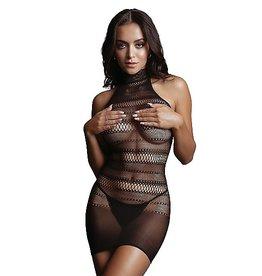 LE DESIR LE DESIR - HIGH LACE NECK NET MINI DRESS - BLACK - ONE SIZE