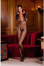 RENE ROFE LINGERIE RENE ROFE - DEEP V FISHNET BODYSTOCKING - BLACK - ONE SIZE