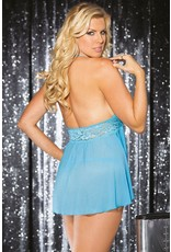 SHIRLEY OF HOLLYWOOD - STRETCH MESH AND LACE BABYDOLL WITH BOW - QUEEN SIZE