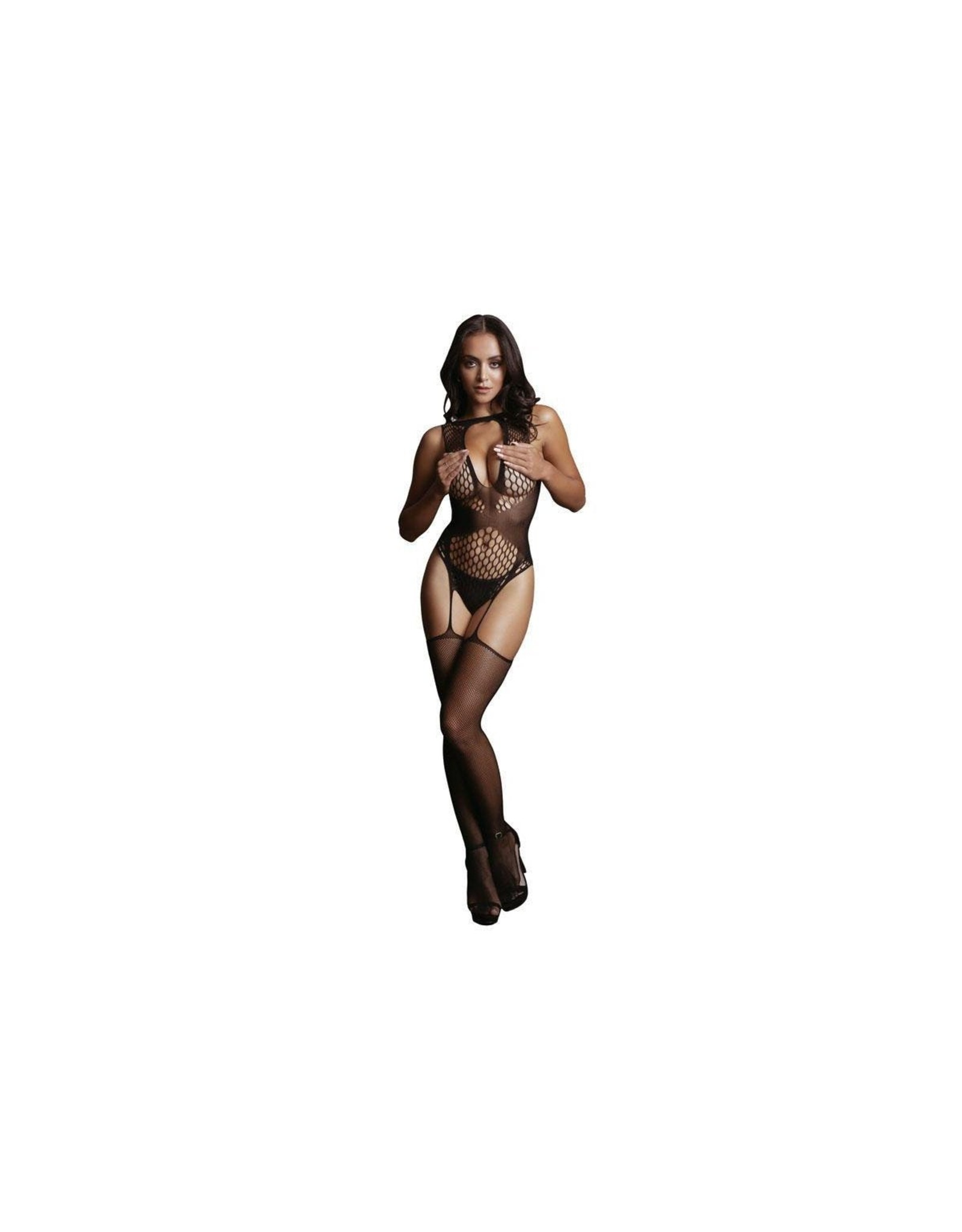 LE DESIR LE DESIR - CONTRAST SUSPENDER BODYSTOCKING BLACK ONE SIZE