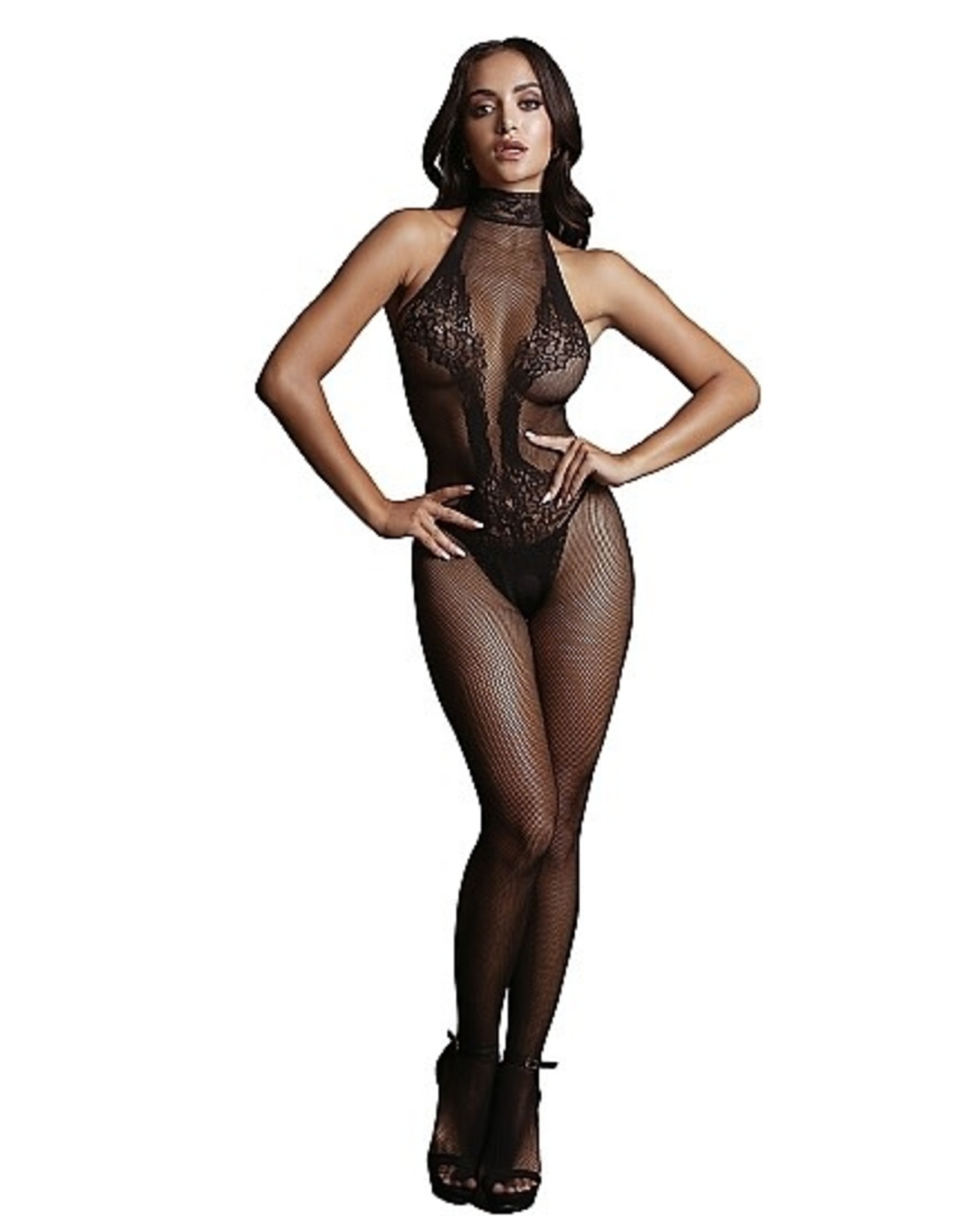 LE DESIR LE DESIR - FISHNET AND LACE BODYSTOCKING BLACK ONE SIZE