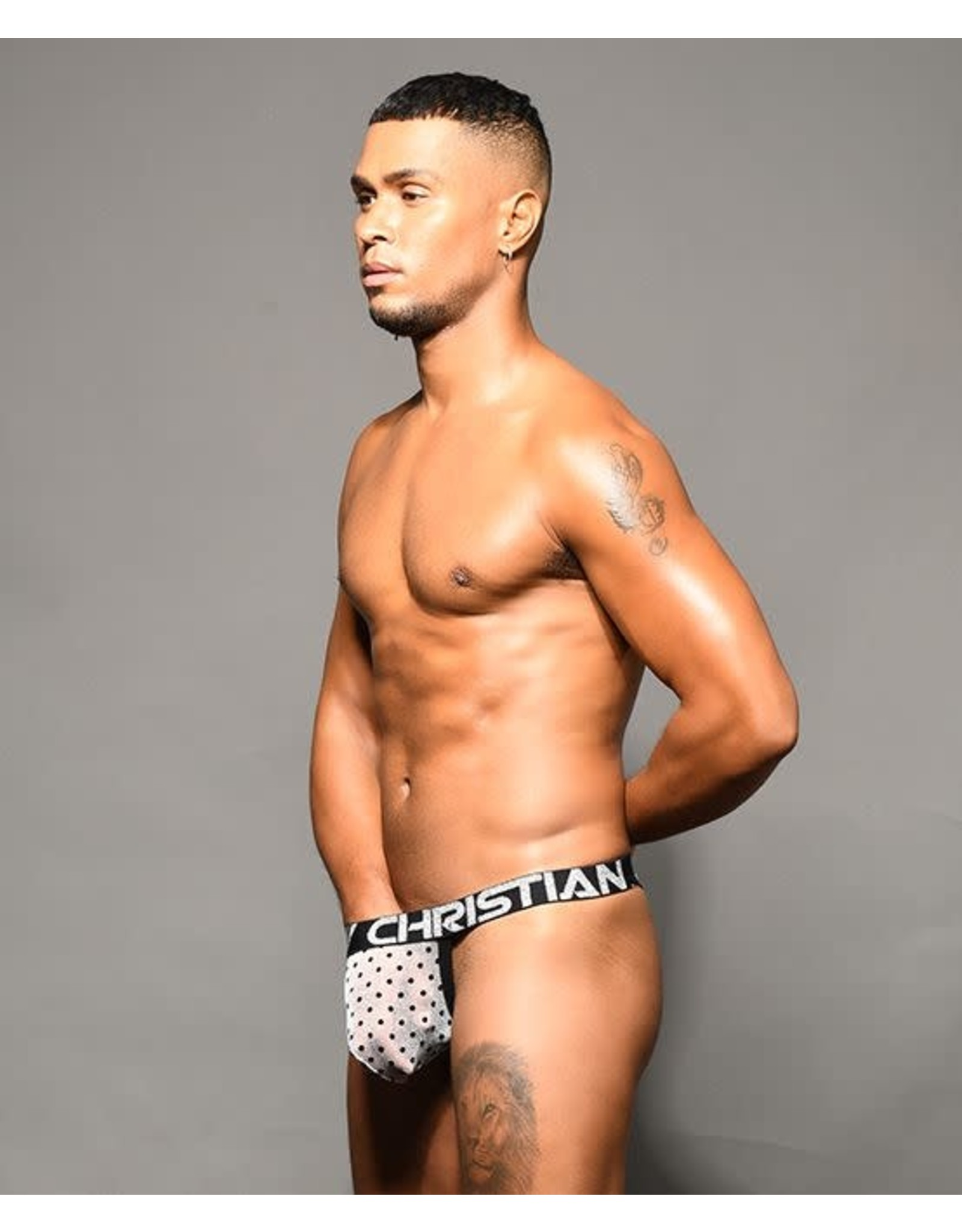 ANDREW CHRISTIAN ANDREW CHRISTIAN - SHEER DOTS Y-BACK THONG W/ ALMOST NAKED MEDIUM