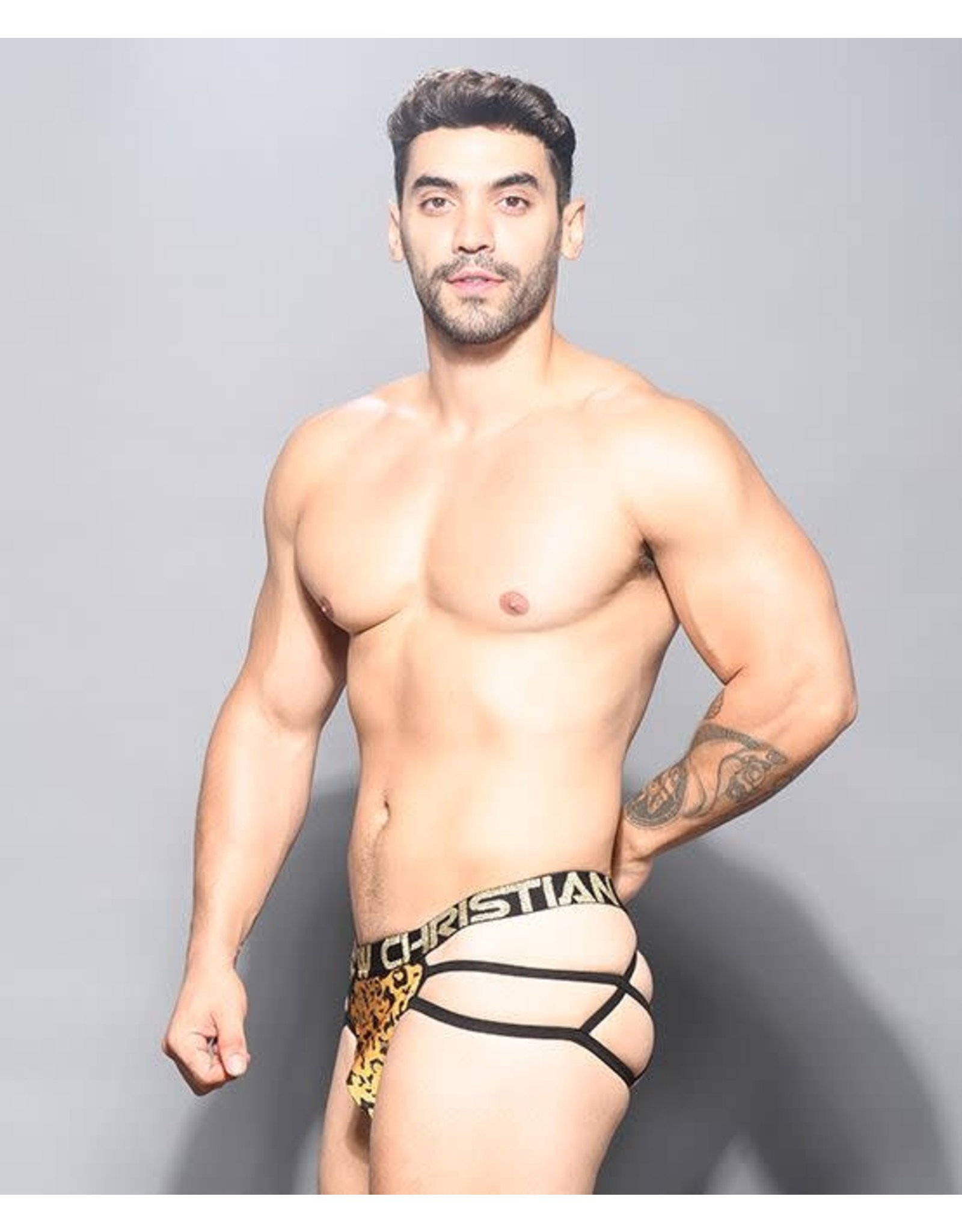 ANDREW CHRISTIAN ANDREW CHRISTIAN - GLAM LEOPARD WEB THONG W/ ALMOST NAKED MEDIUM