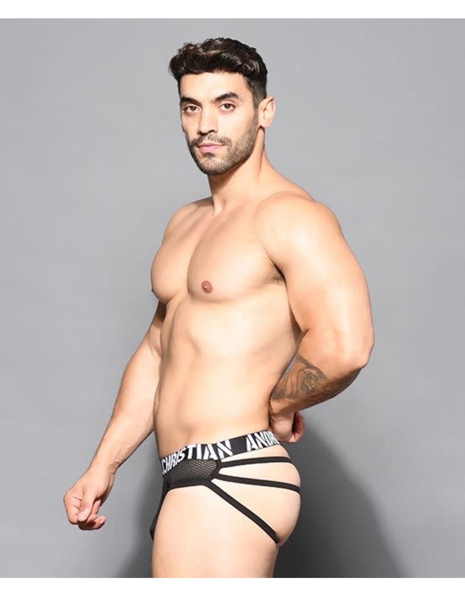 ANDREW CHRISTIAN ANDREW CHRISTIAN - REBEL MESH CAGE THONG W/ ALMOST NAKED - MEDIUM
