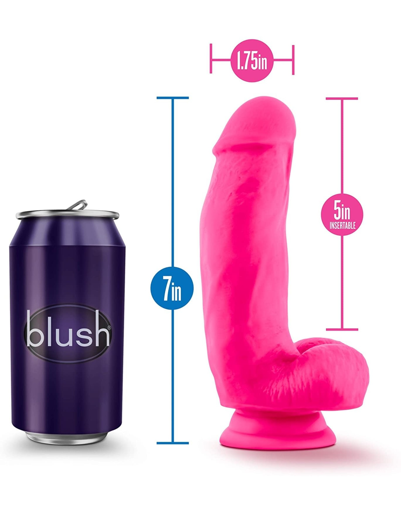 BLUSH BLUSH - NEO ELITE - 7' SILICONE DUAL DENSITY COCK W BALLS - NEON PINK