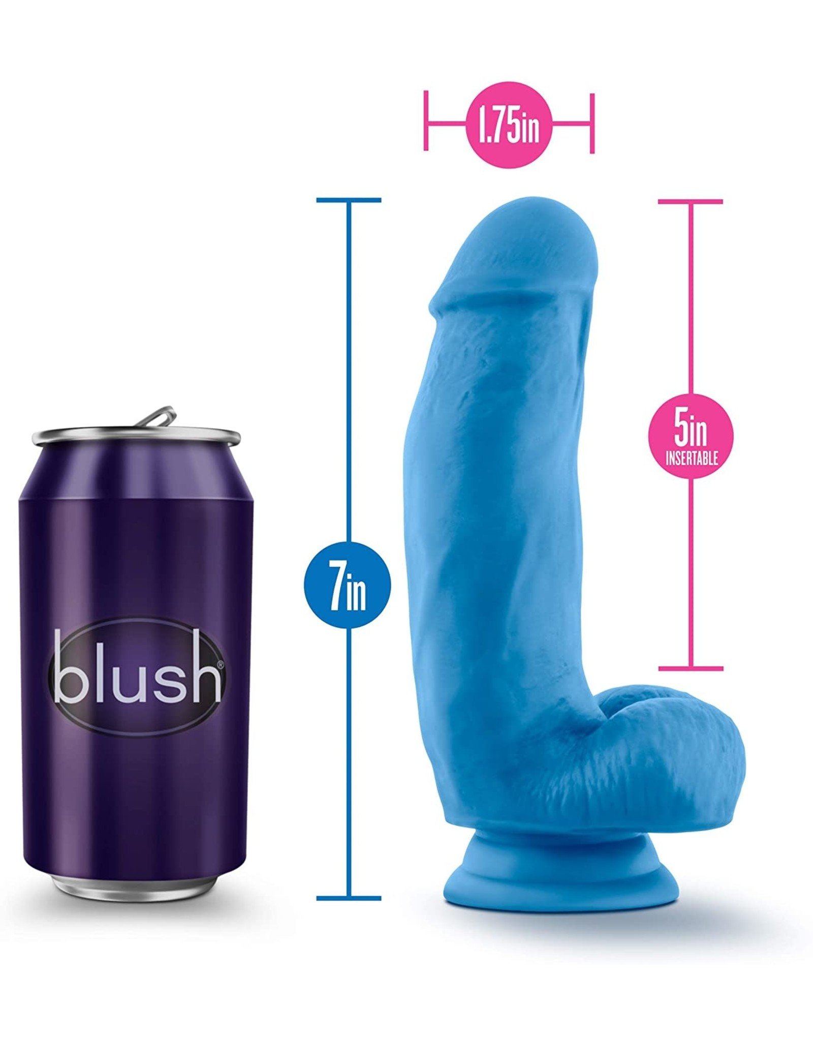 BLUSH BLUSH - NEO ELITE - 7' SILICONE DUAL DENSITY COCK W BALLS - NEON BLUE