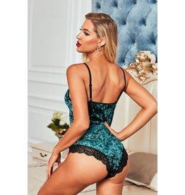 GREEN VELVET LACE MESH STITCHING SEXY BODYSUIT - M