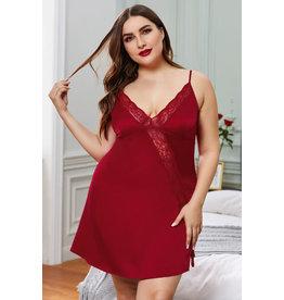 RED PLUS SIZE LACE TRIM VALENTINE BABYDOLL DRESS - (US 26-28)4X