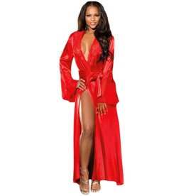 RED GLAMOUR VALENTINE LONG ROBE - (US 8-10)M