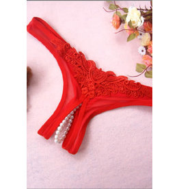 RED PEARL BOTTOM G-STRING ONE SIZE