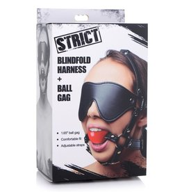 STRICT STRICT BLINDFOLD HARNESS AND BALL GAG - RED
