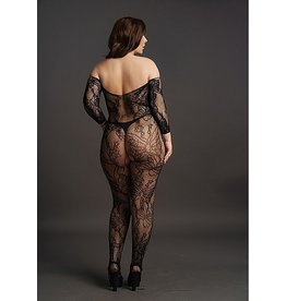LE DESIR LACE SLEEVED BODYSTOCKING - BLACK - OSX