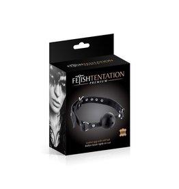 FETISHTENTATION FETISH TENTATION - PREMIUM BLACK LEATHER GAG WITH STIFF BALL