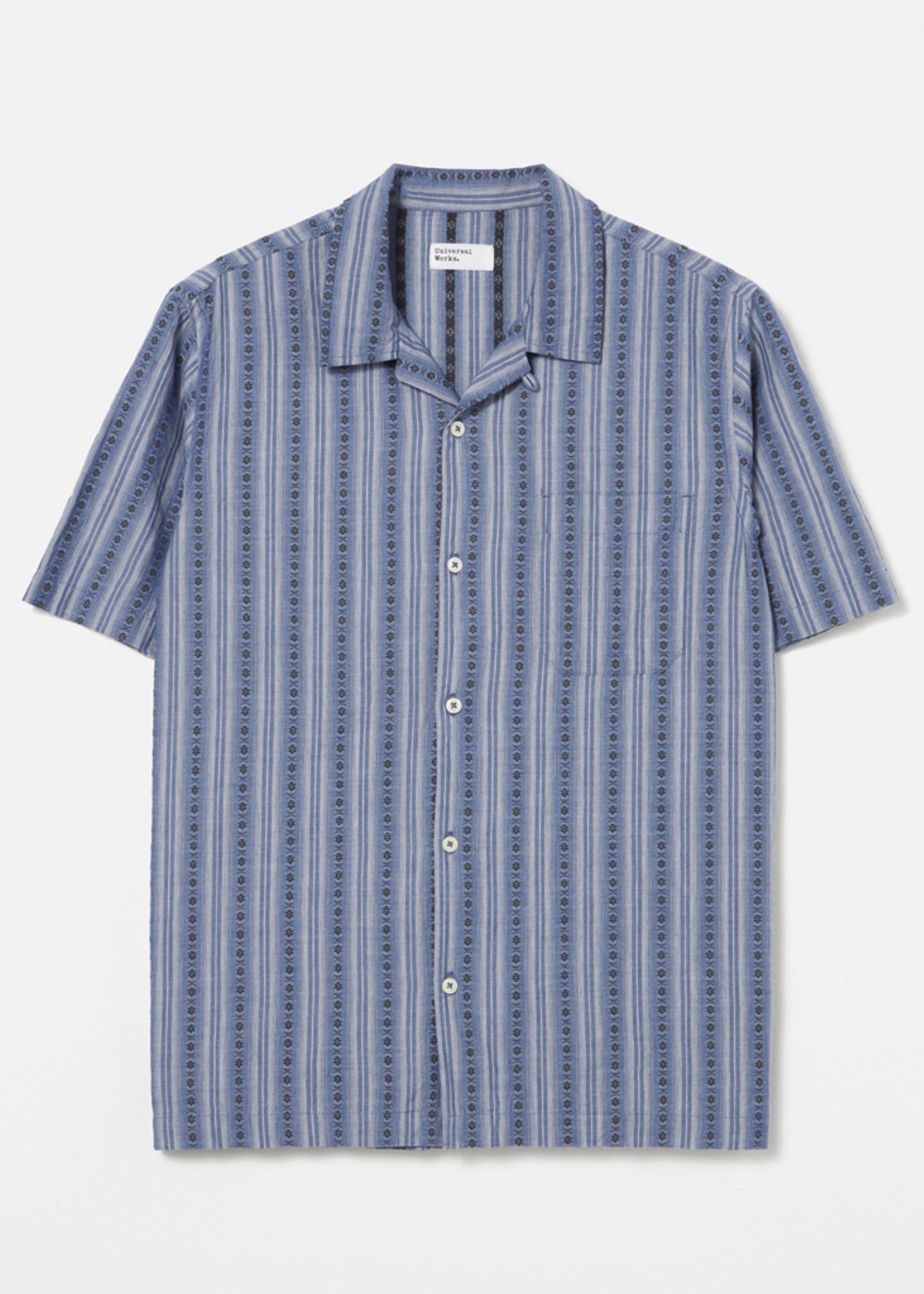 Universal Works Road Shirt Blue Western Stripe by Universal Works