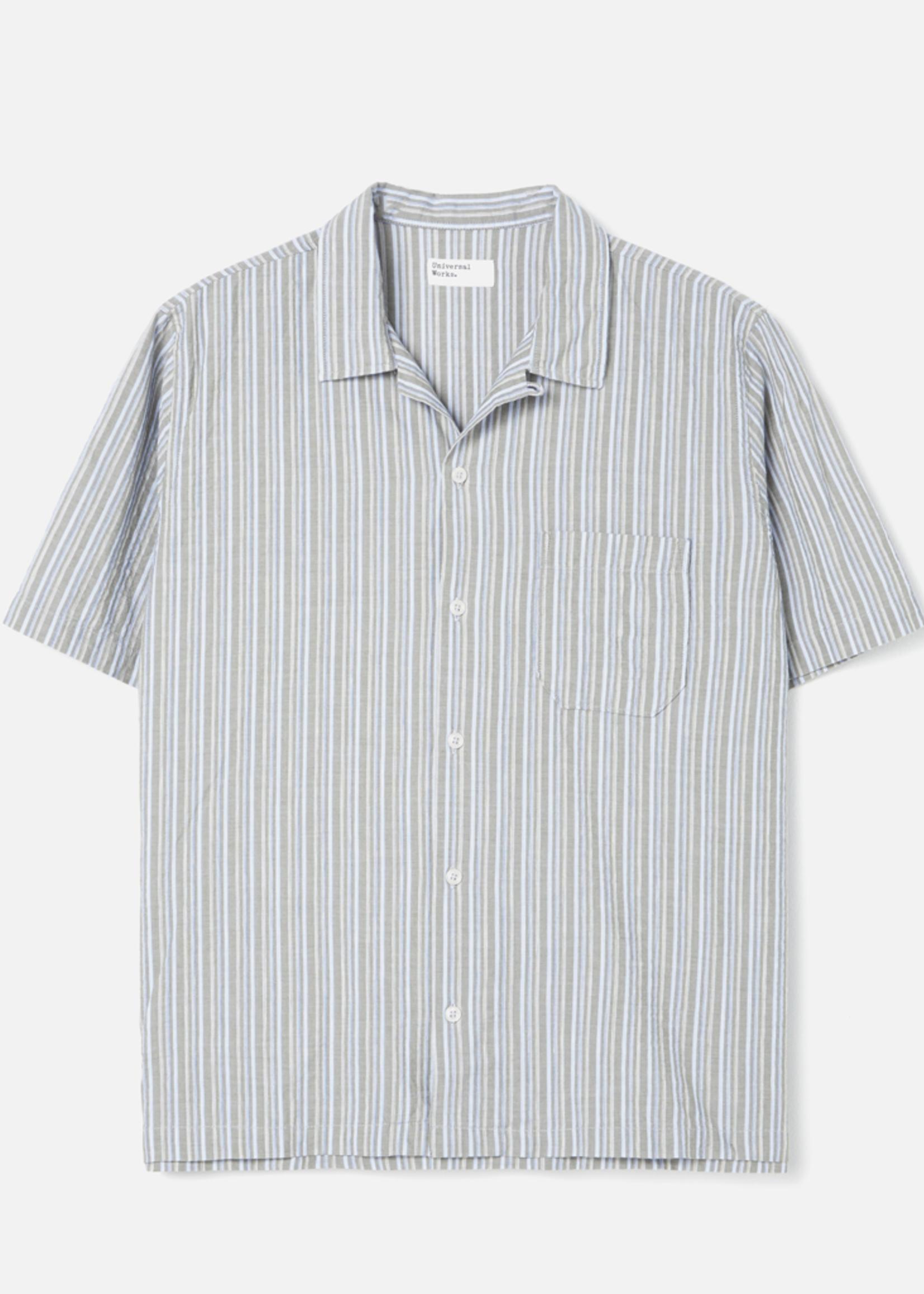 Universal Works Road Shirt Olive Elton 2 Stripe by Universal Works