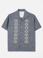 Universal Works Open Collar Indigo Chambray Shirt by Universal Works