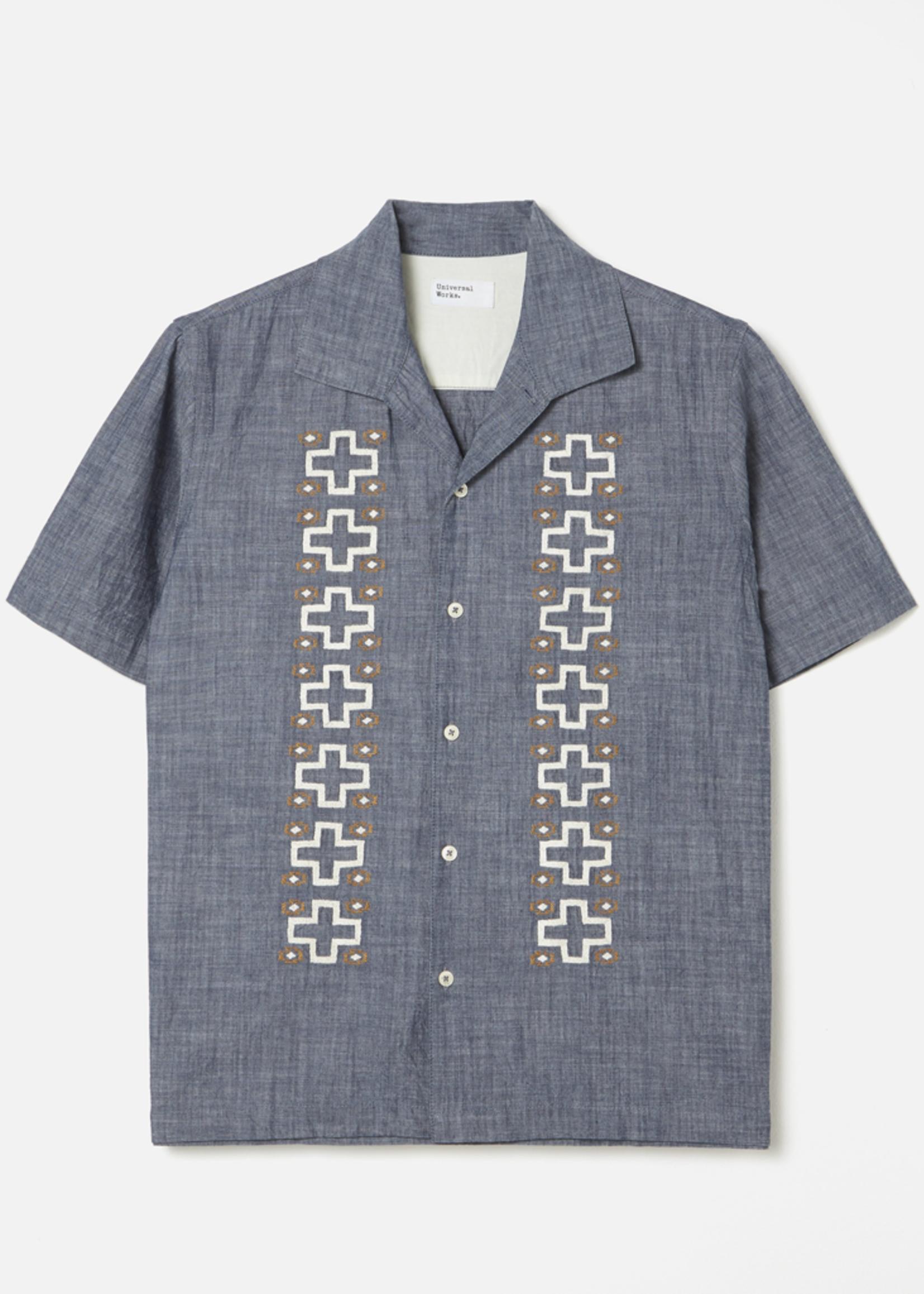 Universal Works Open Collar Indigo Chambray Shirt by Universal Works