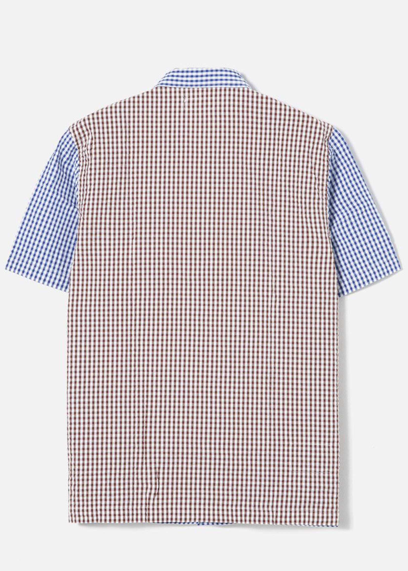 Universal Works Road Shirt Blue/Brown Gingham Seersucker by Universal Works