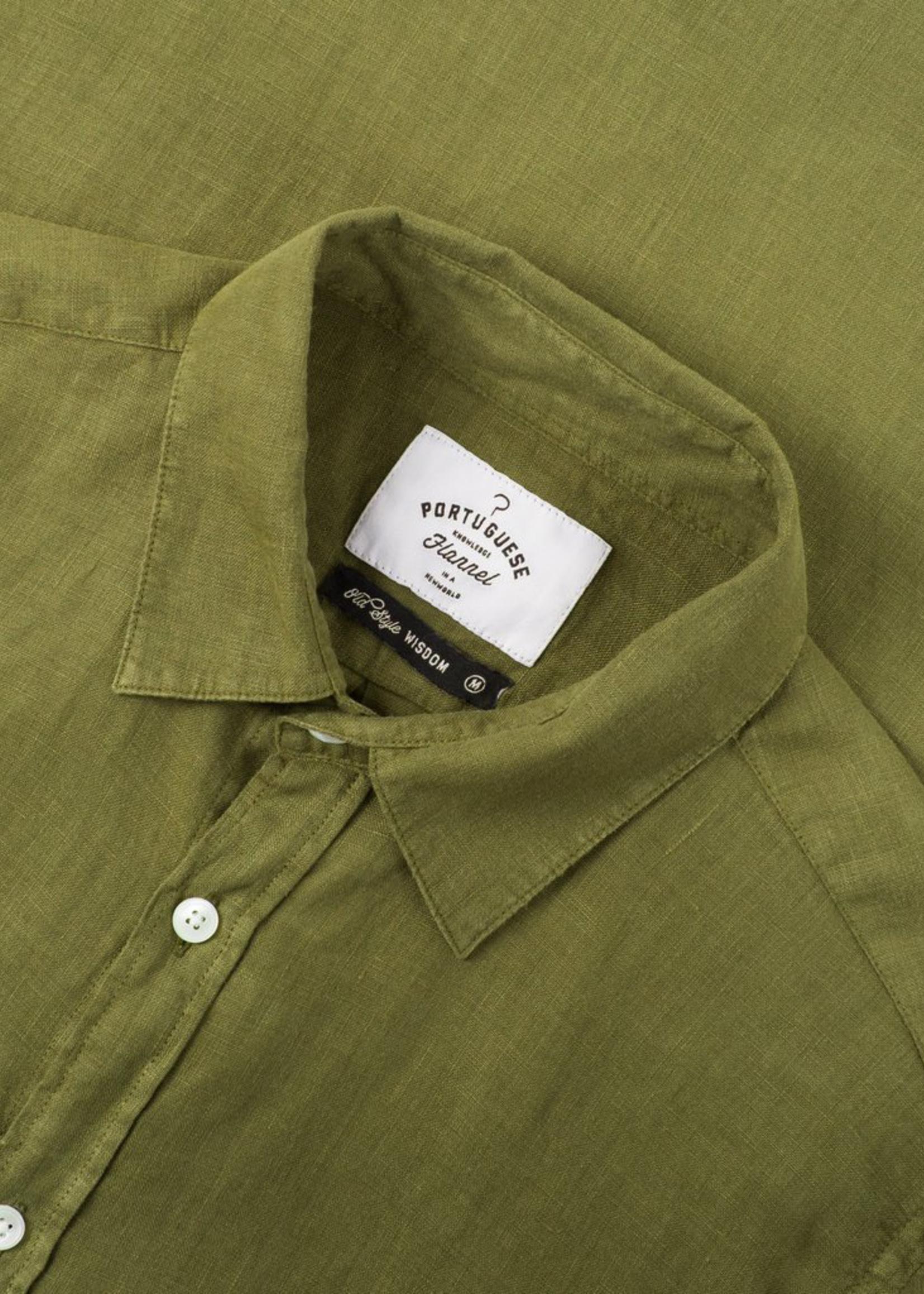 Portuguese Flannel Linen L/S Shirt Olive by Portuguese Flannel