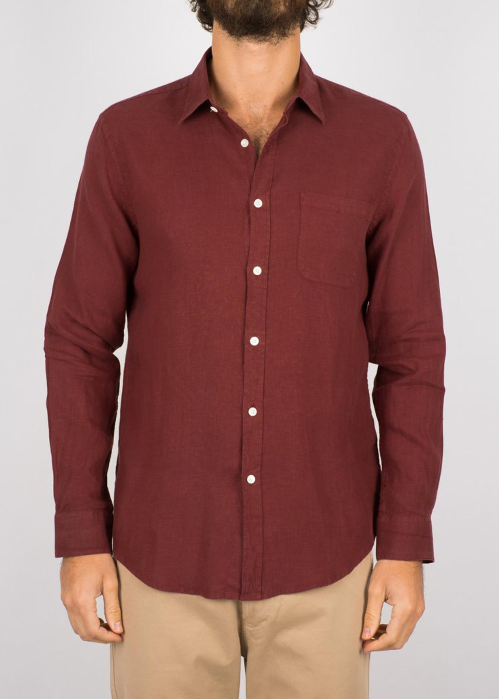 Portuguese Flannel Linen L/S Shirt Bordeaux by Portuguese Flannel
