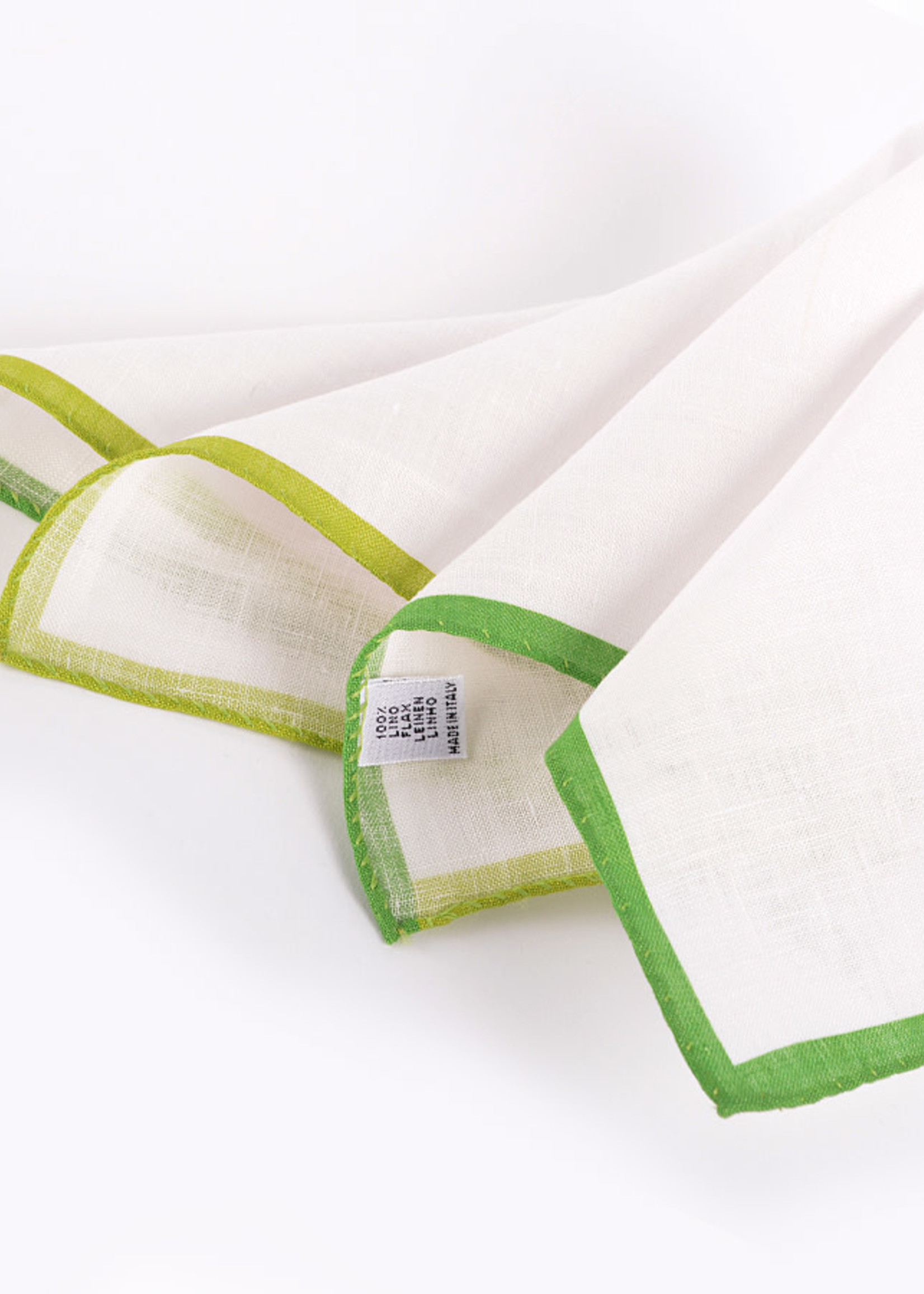 Dion Color Border Linen Pocket Square Green by Dion