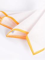 Dion Color Border Linen Pocket Square Orange by Dion