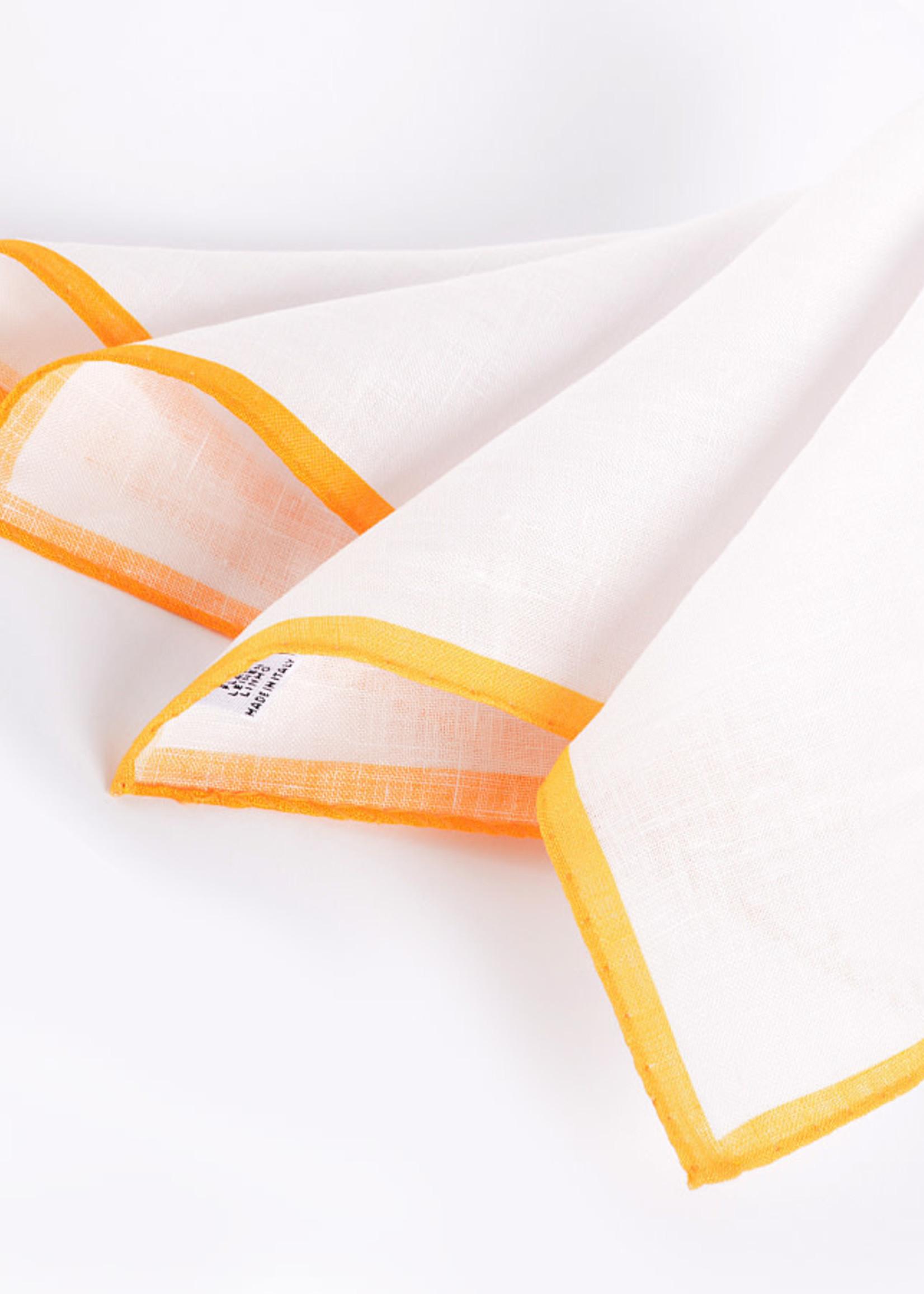 Dion Dion Color Border Linen Pocket Square Orange