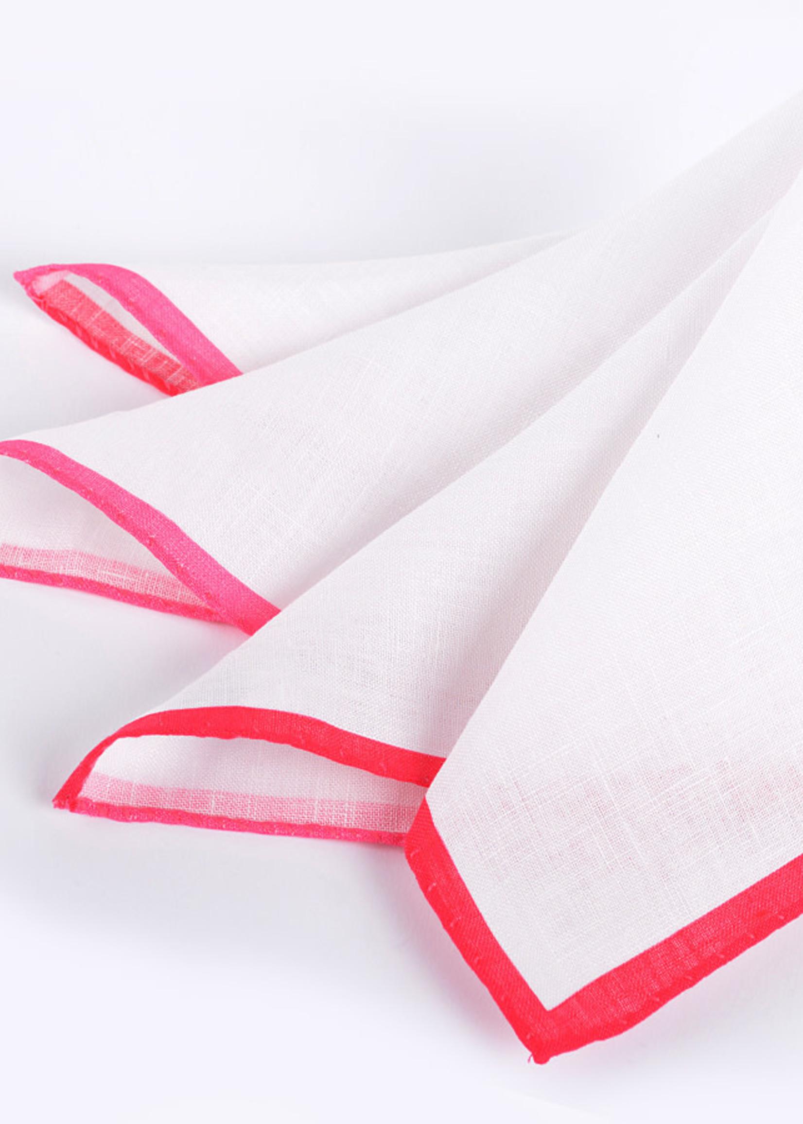 Dion Color Border Linen Pocket Square Pink by Dion