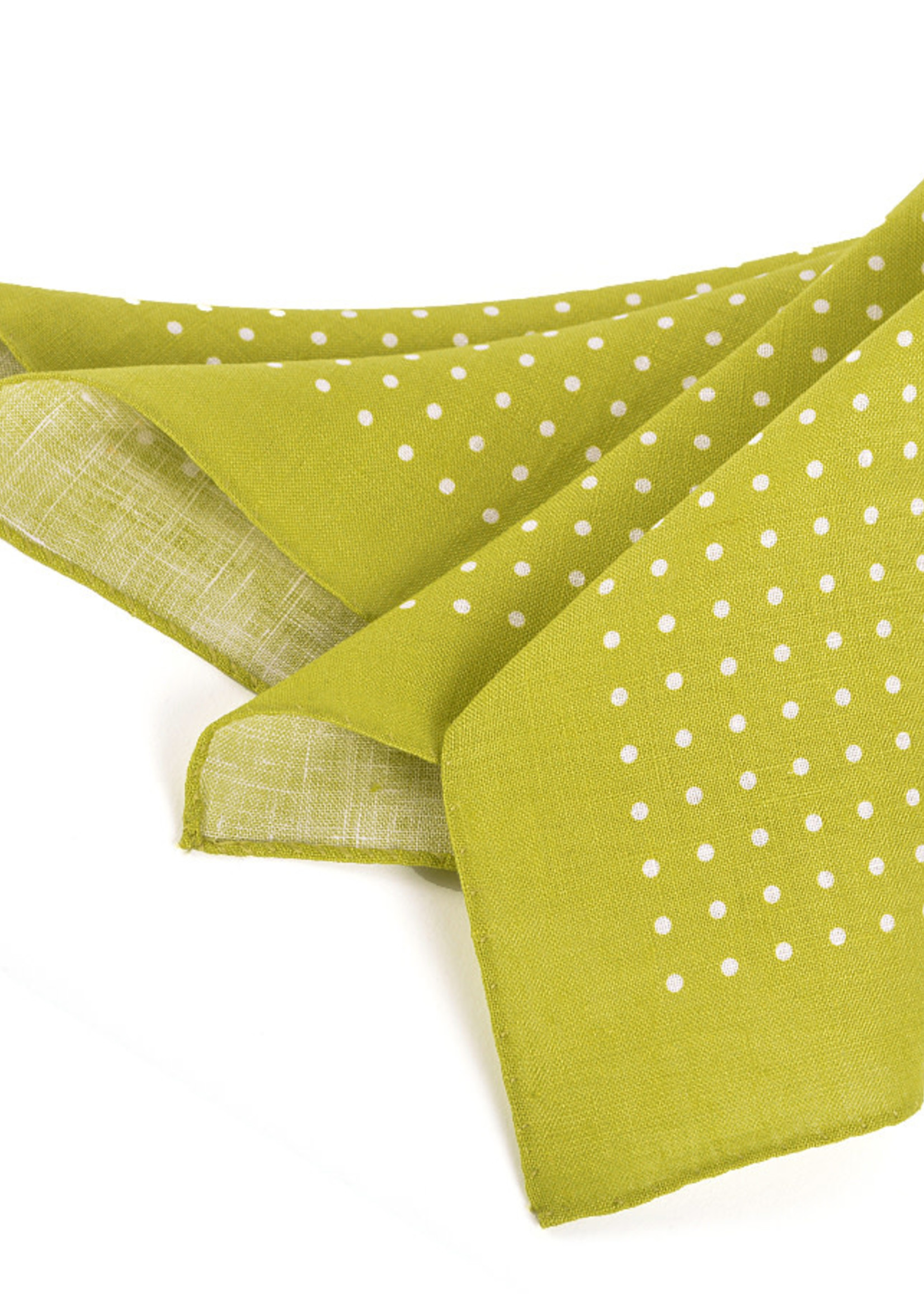 Dion Dion Polka Dot Linen Pocket Square Green