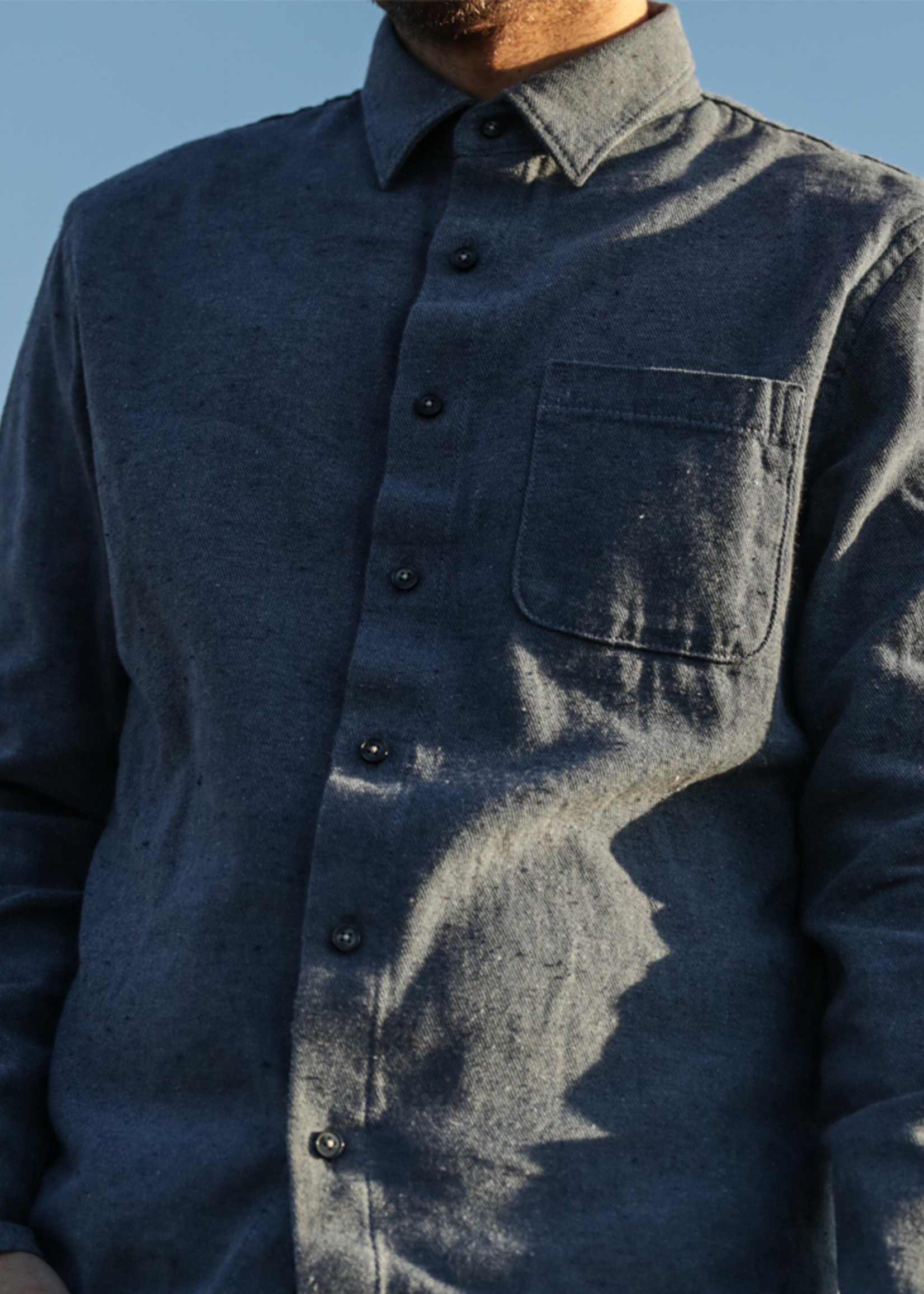 Kato Ripper Shirt Dark Blue Recycled Denim by Kato